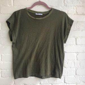 Zara Trafaluc crop T-shirt striped green small